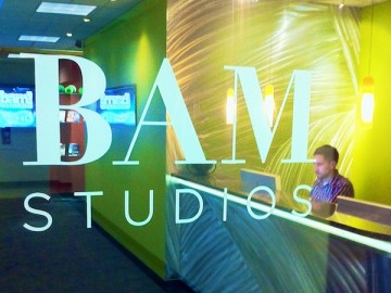 BAM Studios new 2011 branding up on on our front door.
